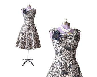 50s Black Dress / 1950s Lace Dress  Party Dress / Black White Dress Little Black Dress / Womens Clothing Dress