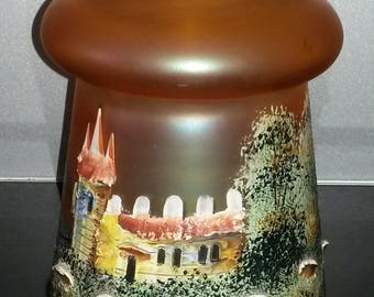 Vintage Iridescent Carnival Glass Lamp Shade Hand Painted Castle Scene