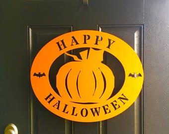 SALE! 2 left! Order today for Halloween! fall door decor pumpkin
