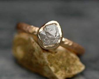 Transparent Raw Diamond on Recycled Gold Band- Custom Made Rough Uncut Stone Engagement Ring in Recyled 14k or 18k Gold