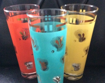 Retro Tall Tumbler Glasses Mid Century Water Glasses Tom Collins Glasses 7 Inches Tall