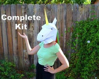 Unicorn Mask Kit - Build a Paper Unicorn | DIY Mask | Papercraft Unicorn | Animal Mask | Halloween Mask | Gift for Crafter | Unicorn Lover