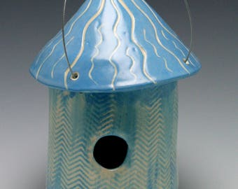 Handmade Ceramic Birdhouse in Medium Blue with Playful Design/Ceramics and Pottery