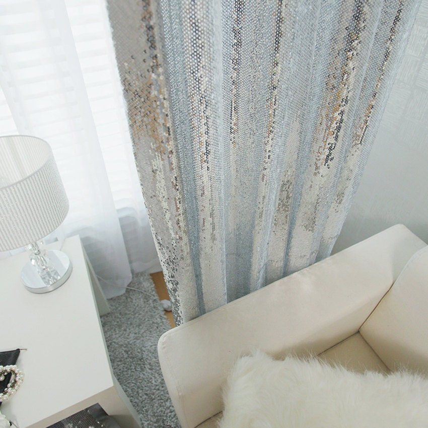 Silver Sequins Sparkly Curtain Drapery Panelrhetsy: Sequence Curtains For Bedroom At Home Improvement Advice