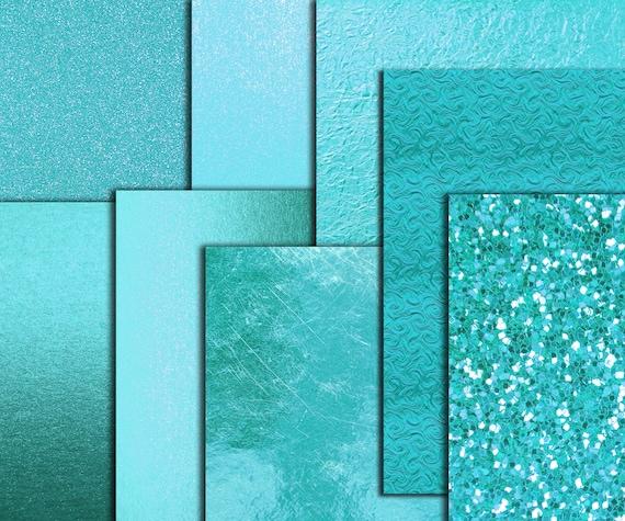 Teal Digital Paper Teal Foil Papers Metallic Foil