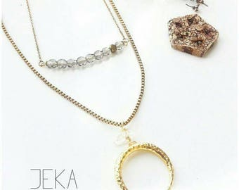 Czech crystal bar // Crescent chain necklace layers