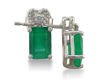 10k White Gold 1ct Emerald Cut Emerald And Diamond Earrings
