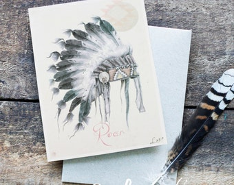 Native American Greeting Card, Blank Card, Hand Drawn, Bohemian, American Indian, Tribal Print, Original Artwork, Tribal Art, Boho Chic