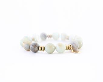 Amazonite Beaded Bracelet - Beaded Stacking Bracelet - C Edwards Designs Jewelry - Gemstone Bracelet - Stretch Bracelet For Her - Bracelet