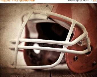 FLASH SALE til MIDNIGHT Vintage Football Helmet  Orange Photo Print, Decorating Ideas, Wall Decor, Wall Art,  Kids Room, Nursery Ideas, Gift