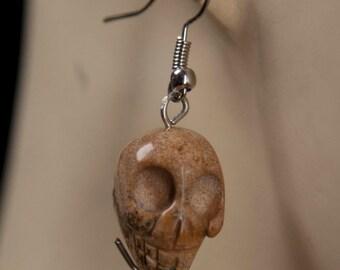 Agate Skull Earrings