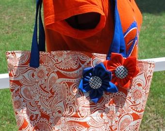 University of Florida Gator Orange Blue Flower Tote Bag Purse