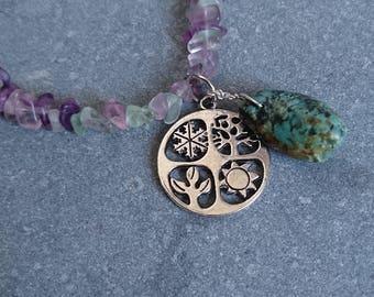 Necklace Earrings Fluorite Set