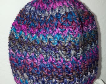 V-stitch beanie, in pinks, greys, and turquoise