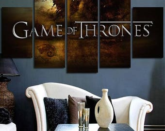 5 Panels Game of Thrones Sign Logo a Song of Ice and Fire Canvas Art Multi Grouped Art Work asoiaf GOT