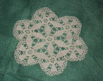 Petite Hand Crocheted  Beige Doily