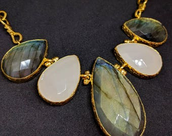 ESHQROCK RAAT Statement Chunky Teardrop Labradorite & Chalcedony Necklace 22k Gold Plated Brass