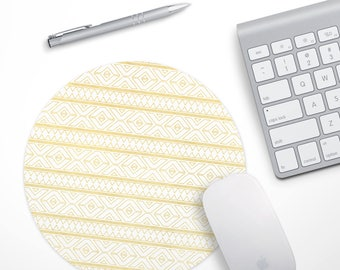 Gold Tribal Mouse pad,  Computer Mouse Pad, Tribal Mousepad, Yellow Mouse pad, Desk Mouse Pad, Pattern Mouse Pad, Desk Accessories Gift
