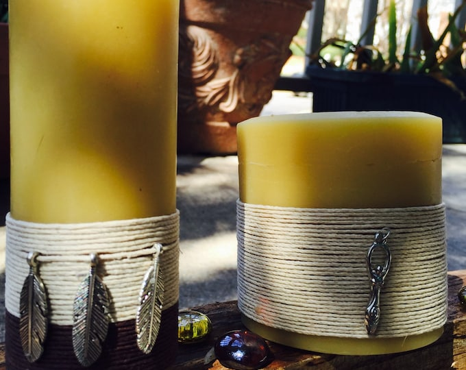 """100% Pure Beeswax Candles-""""Charmed"""" candles-organic beeswax candle-goddess charm-feather charm-ritual candle-pure organic beeswax candles"""