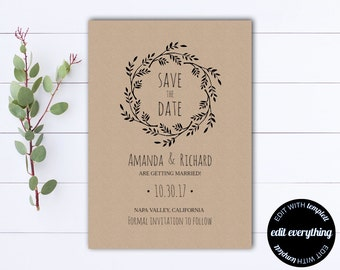 Rustic Save the Date Wedding Template - DIY Save the Date Card - Kraft Paper Save the Date Invite - Printable Save Date - Save Our Date