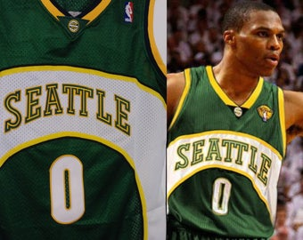 235356a60c7a Russell Westbrook Seattle Supersonics Sonics Away Green Jersey