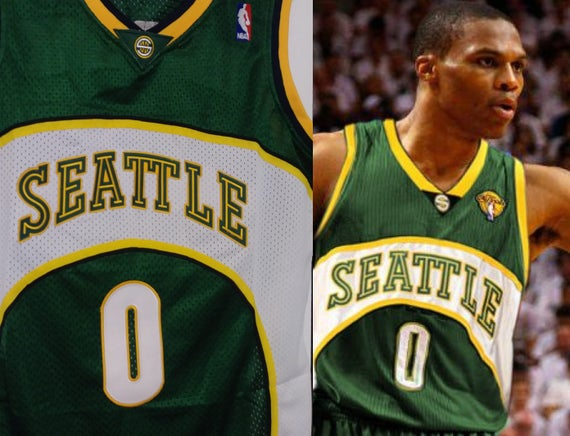 Very Russell Westbrook Seattle Supersonics Sonics Away Green Jersey VV04