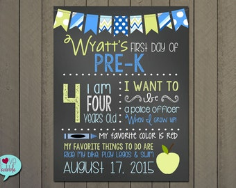 """First day of School photo sign, Back to School, Chalkboard Photo Picture Sign  - PRINTABLE DIGITAL FILE 8.5x11"""""""