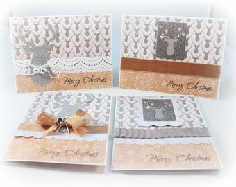 Christmas Card Set, Holiday Card Set, Handmade Card Set, Deer, Silver, Glitter, Set Of Four Cards, Holiday Gift Enclosures