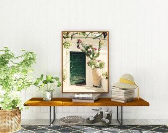 Green Door Photo  - Greece Photography - Emerald Green Decor - Mediterranean Home Decor Greek Wall Art Fuschia Flowers Corfu Print