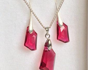 Purple Swarovski Set, Geametric Swarovski Necklace, Purple Swarowski Earrings, Swarovski Jewelry Set.