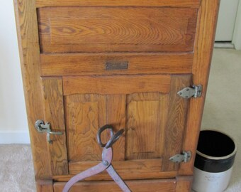 Vintage 1920s Oak Ice Box Refrigerator Storage