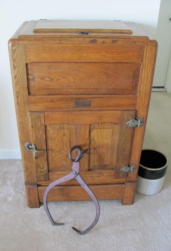 Vintage 1920s Oak Ice Box Refrigerator Storage