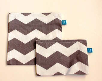 Reuseable Eco-Friendly Set of Snack and Sandwich Bags in Gray Chevron Fabric