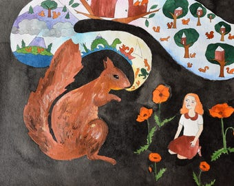 Annabelle Learns the Secret History of the Squirrels original art illustration painting