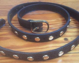 Vintage, 70s, Brown suede, Gold Studded belt, 70
