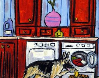 German Shepherd Doing the Laundry Picture  Dog Art Print Gift