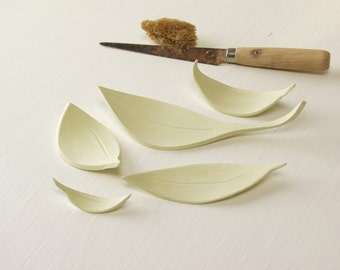Five Yellow Leaves.   Fired Ceramic Leaves.  Hand-Built Foliage.
