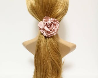 Discolored Petal Wild Rose Flower Hair Elastic Ponytail Holder Women Hair Accessory