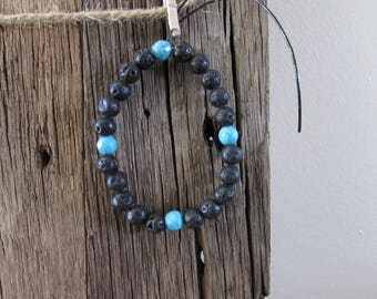 Lava and Turquoise Beaded Bracelet
