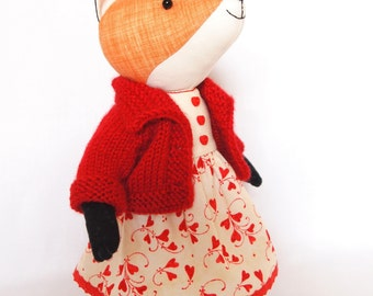 Orange Fox Stuffed animal doll 10 inches (25cm) Cotton fabric doll Handmade artist toy Hand knitted jacket and different muslin dresses .