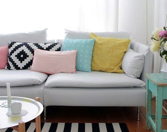 Mint on White Plus Cross Throw Pillowcase By Pencil Me In // Pastel Home Decor