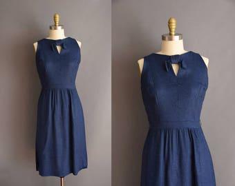 vintage 1950s dark blue Alison Ayres linen dress 50s blue keyhole cut out Medium dress
