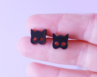 black cat. cat earrings. cat jewelry. gift for her. cat lover gifts. stud earrings. handmade earrings. black earrings. statement jewelry