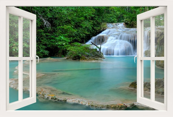 3D Window Wall Decal Window To Lake Waterfall Wall Stickers