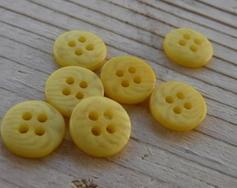 16 Yellow Striped Round Buttons Size 3/8""