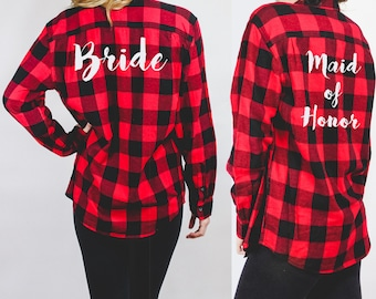 Bride Bridesmaid Maid of Honor Matron of Honor Wedding Marriage Flannel Shirt Shirts - Red