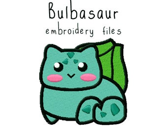 Pokemon Bulbasaur EMBROIDERY MACHINE FILES pattern design hus jef pes dst all formats Instant Download digital applique kawaii cute