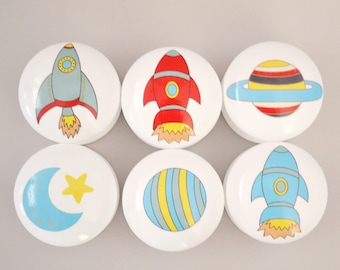 Space Drawer Knobs, Drawer Pulls, Dresser Pulls. Children's Room, Nursery Decor, Nursery, Rocket, knobs, Kids Knobs, Boys Room.