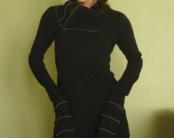 cowl tunic dress extra long sleeves BLACK