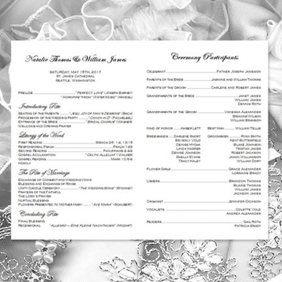 Catholic Church Wedding Program Vienna Black &